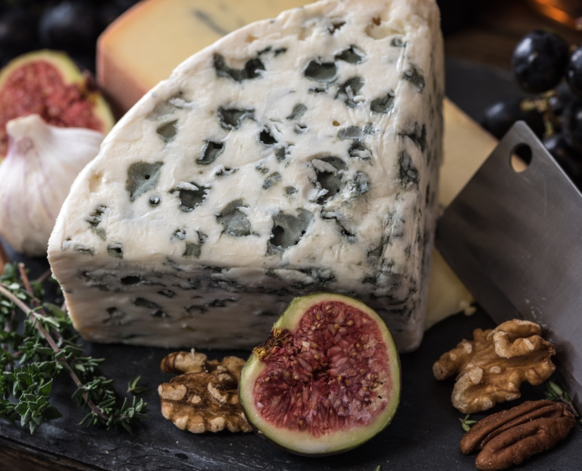 A block of Blue Cheese with a fig and nuts around it from a Chicago Wine and Culinary Tours